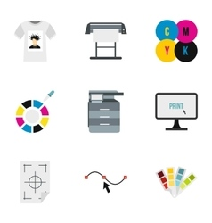 Printing in polygraphy icons set flat style vector image
