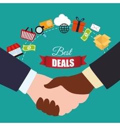 handshake best deals shopping items vector image