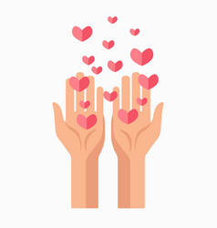 Charity hands and hearts blood donation vector