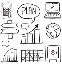 doodle of business various object vector image
