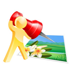 Pinning photo man concept vector