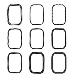 Set of rectangular black monochrome rope vector