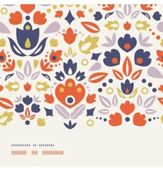 Ornamental folk tulips horizontal frame seamless vector image
