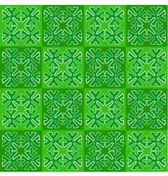 Green squares with ornament seamless vector image