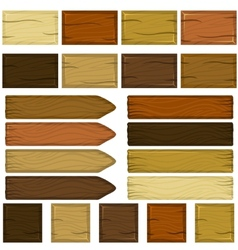 Set of wooden bricks and planks in cartoon style vector