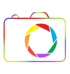 Abstract colorful camera on a white background vector