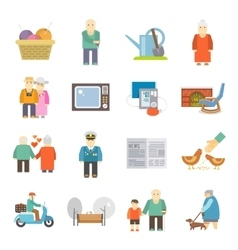 Pensioners life flat icons set vector