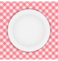 White plate on a checkered tablecloth vector