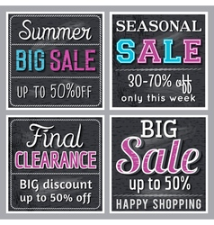 Black square banners with sale offer vector