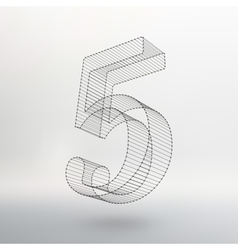low poly numbers font Polygon number vector image