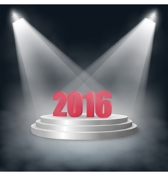 New Year 2016 Monkey standing on a pedestal with vector image