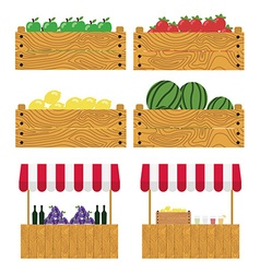 Wooden box with apples tomatoes lemons watermelons vector