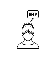 Man needs help icon outline style vector