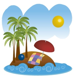 beach in summer 3 vector image