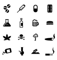 black drugs icon set vector image vector image
