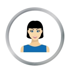 Black hair woman icon in flat style isolated on vector