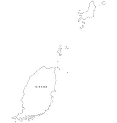 Black White Grenada Outline Map vector image vector image