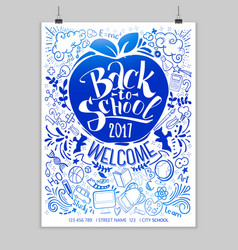 Blue back to school poster with frame vector