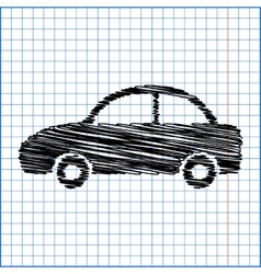 Car icon pen on scool paper vector
