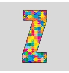 Color puzzle piece jigsaw letter - z vector