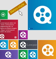 Film icon sign Metro style buttons Modern vector image