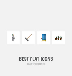 Flat icon farm set of pump harrow flowerpot and vector