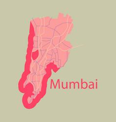 Flat icon map of mumbai vector