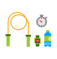 Flat icons set of fitness sport equipment and vector