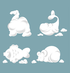 fluffy clouds in shape of animals in blue sky vector image vector image