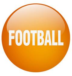 Football orange round gel isolated push button vector