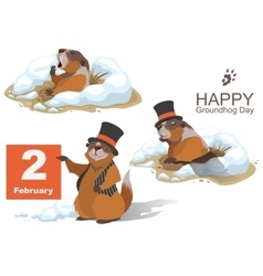 Happy groundhog day marmot holding february 2 vector
