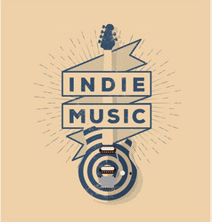 indie rock music vintage styled badge vector image vector image