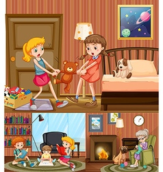 Kids and grandmother at home vector