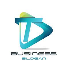 letter t media logo vector image