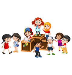 many happy children on the wooden boxes vector image vector image