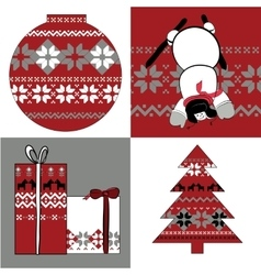 Nordic set of round presents snowman and spruce vector