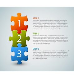 One two three - puzzle pieces with numbers vector image vector image