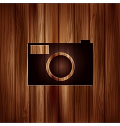 Photo camera icon Photography Wooden texture vector image vector image