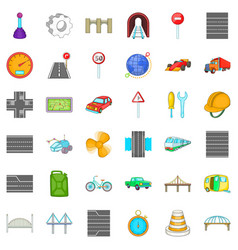 Road icons set cartoon style vector