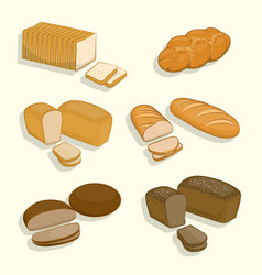 set of bakery products on a white background vector image vector image