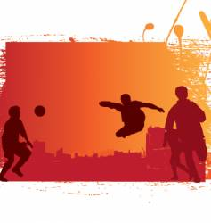 soccer game sunset grunge vector image