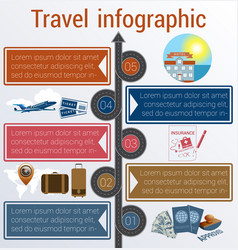 Travel infographic template 5 positions vector