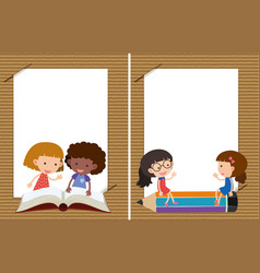 Two background templates with girls reading vector