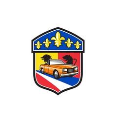 Vintage cabriolet fleur-de-lis crest retro vector