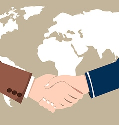 World map business success handshake vector