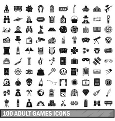 100 adult games icons set simple style vector