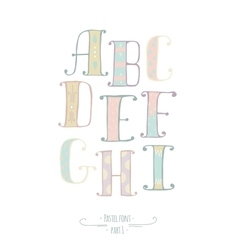 Pastel colored hand drawn font abc letters vector