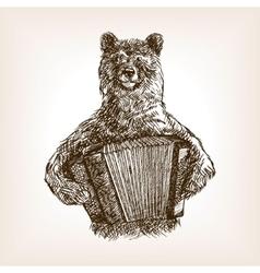 Bear with accordion sketch vector image
