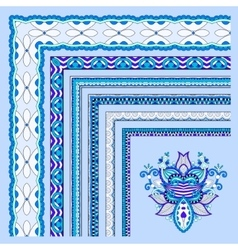 blue floral vintage frame design vector image