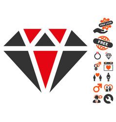 diamond icon with love bonus vector image